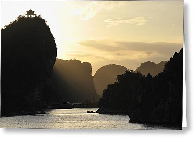 On Top Of Greeting Cards - Sunset on Halong Bay Greeting Card by Sami Sarkis