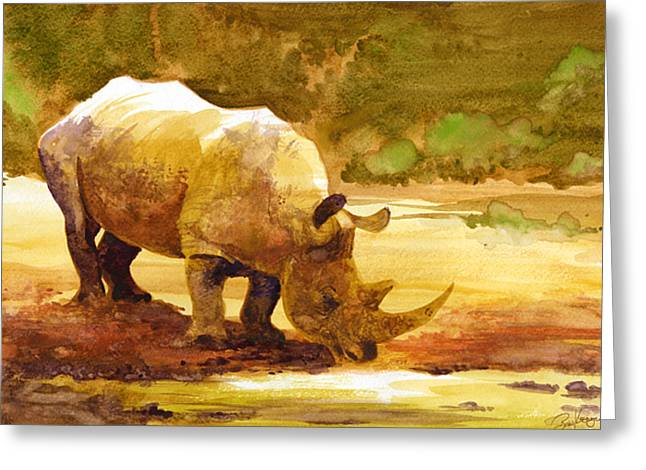 Rhinos Greeting Cards - Sunset Rhino Greeting Card by Brian Kesinger