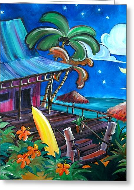 Tropical Island Greeting Cards - Surf Shack Greeting Card by Jerri Grindle