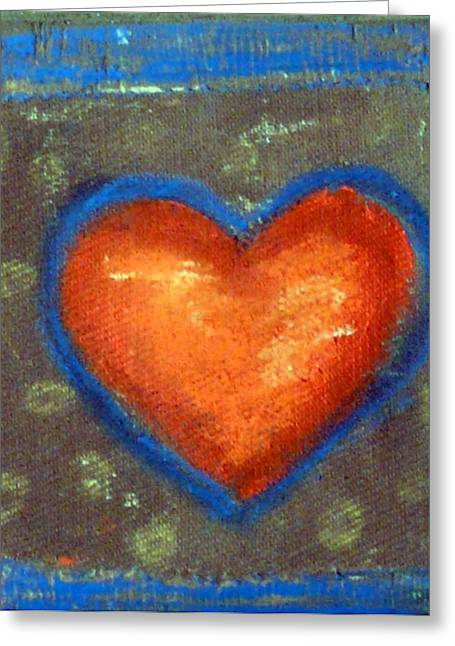 Orange Reliefs Greeting Cards - Sweet Tangarine Heart Greeting Card by Jane Clatworthy