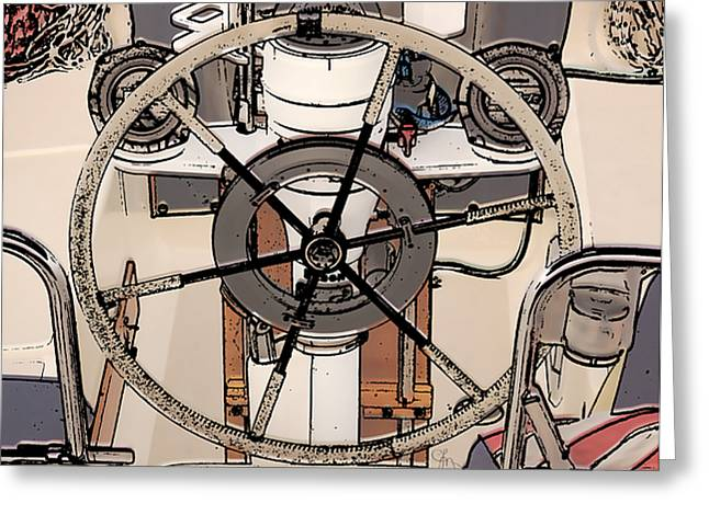 Steering Greeting Cards - Take the Helm Greeting Card by Cindi Finley Mintie