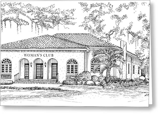 Moss Drawings Greeting Cards - Tallahassee Womens Club Greeting Card by Audrey Peaty