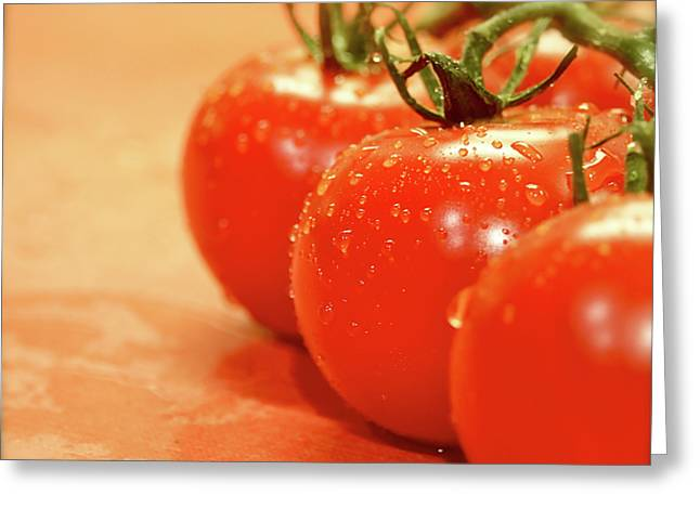 Grocery Store Greeting Cards - The 3 Tomatoes Greeting Card by Mark Delfs