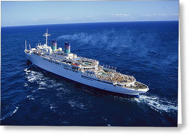 Boat Cruise Greeting Cards - The American Hawaii Cruise Ship Leaving Greeting Card by Maria Stenzel