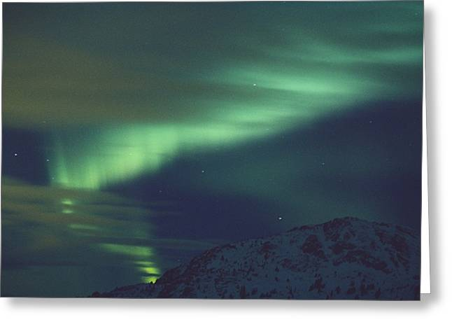 Whitehorse Greeting Cards - The Aurora Borealis Creates Light Greeting Card by Paul Nicklen