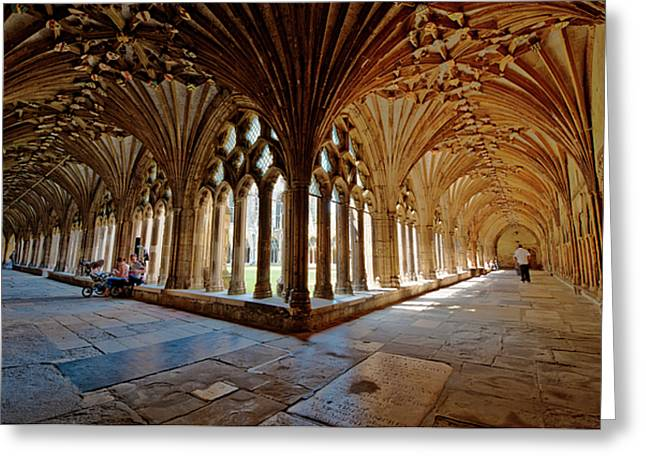 Archbishop Greeting Cards - The Cloisters Canterbury Cathedral Greeting Card by Donald Davis