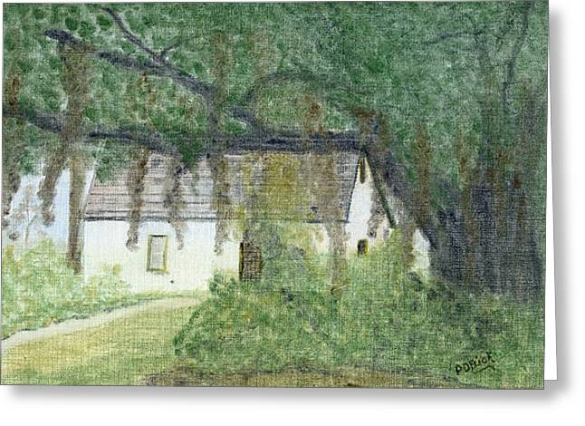 Slaves Pastels Greeting Cards - The Cottage-st. Simons Is. Ga Greeting Card by Diane Frick