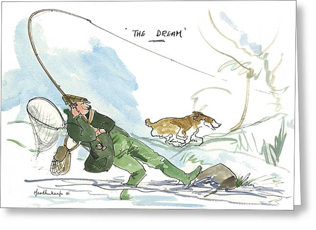 Fishing Rods Drawings Greeting Cards - The Dream Greeting Card by Mark Huskinson