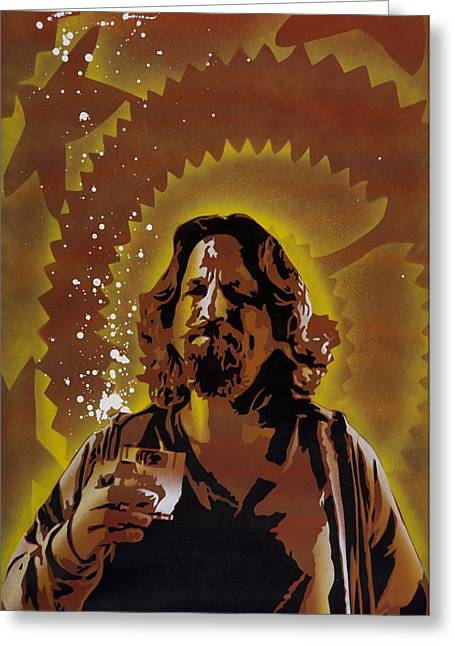 Stencil Spray Greeting Cards - The Dude Greeting Card by Iosua Tai Taeoalii