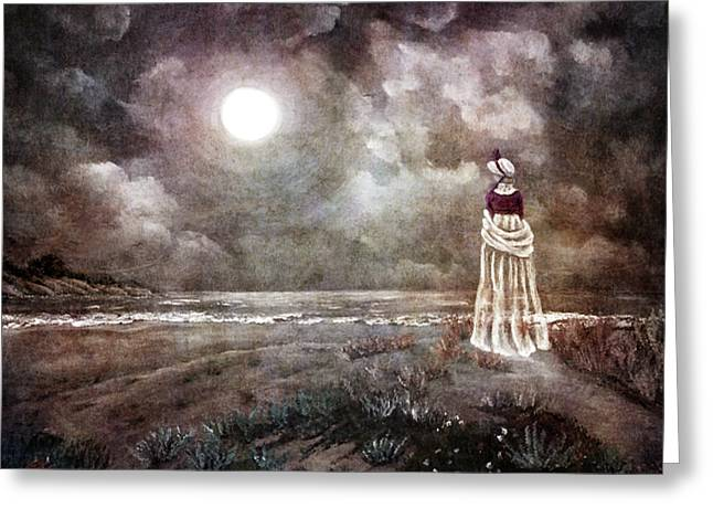 Haunted Digital Art Greeting Cards - The Fading Memory of Annabel Lee Greeting Card by Laura Iverson