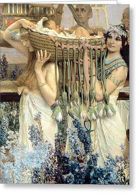Loaded Greeting Cards - The Finding of Moses by Pharaohs Daughter Greeting Card by Sir Lawrence Alma-Tadema