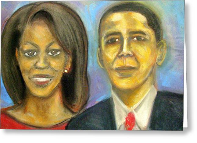 Best Sellers -  - Michelle Obama Greeting Cards - The First Couple Greeting Card by Jan Gilmore