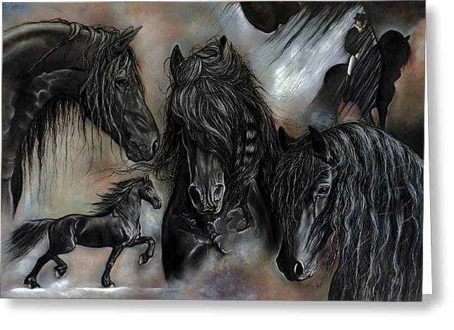 Horse Art Pastels Greeting Cards - The Friesians In My Head Greeting Card by Caroline Collinson