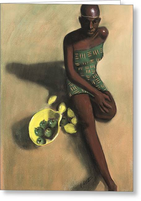 African Pastels Greeting Cards - The Fruit Seller Greeting Card by L Cooper