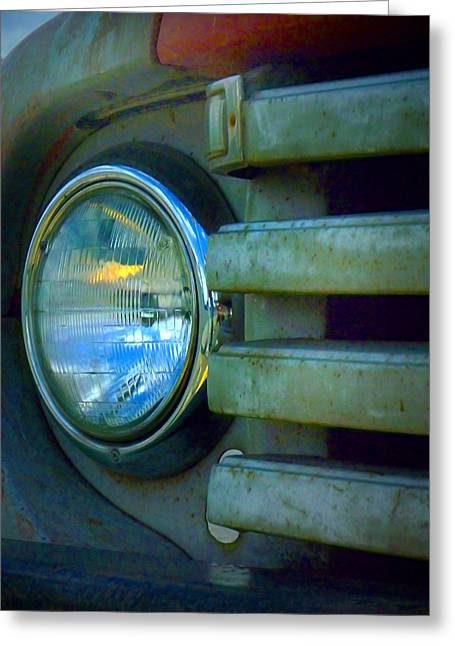 Rusted Cars Greeting Cards - The Headlight Greeting Card by Tara Turner