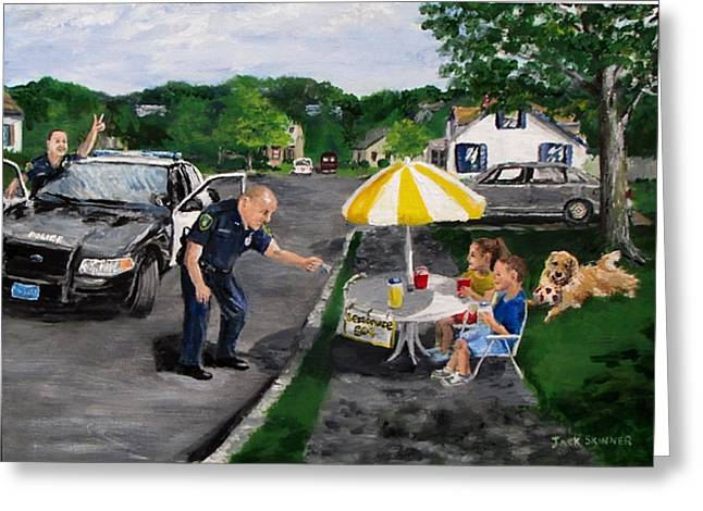 Police Cruiser Greeting Cards - The Lemonade Stand Greeting Card by Jack Skinner