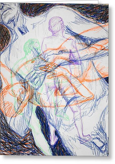 Repetition Drawings Greeting Cards - The Man Repeated Greeting Card by Jean Haynes
