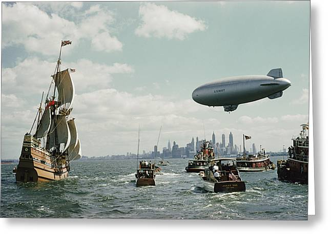 Three-quarter Length Greeting Cards - The Mayflower Ii Enters New York Harbor Greeting Card by B. Anthony Stewart