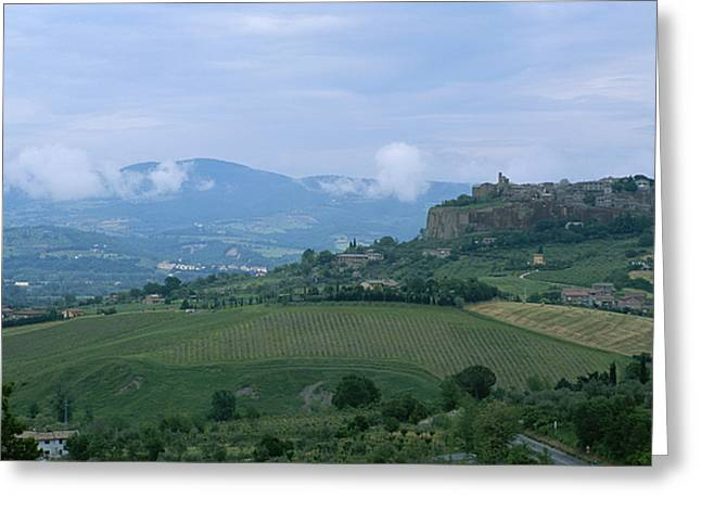 Farmers And Farming Greeting Cards - The Medieval Hill Town Of Orvieto Rises Greeting Card by Taylor S. Kennedy