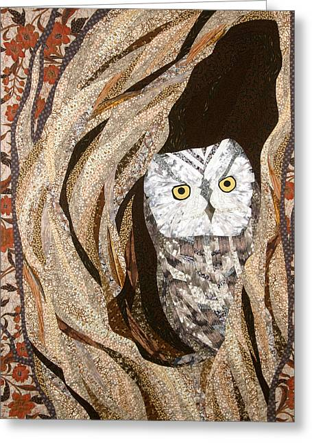Trees Tapestries - Textiles Greeting Cards - The Owl at Home Greeting Card by Linda Beach