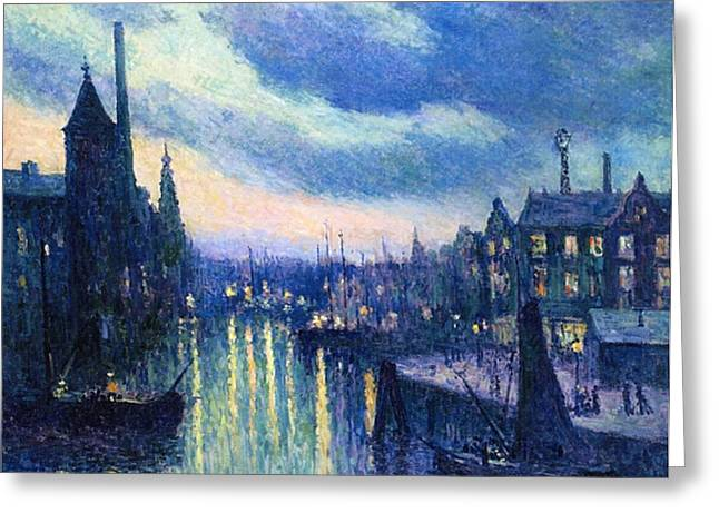 Port Greeting Cards - The Port of Rotterdam at Night Greeting Card by Maximilien Luce