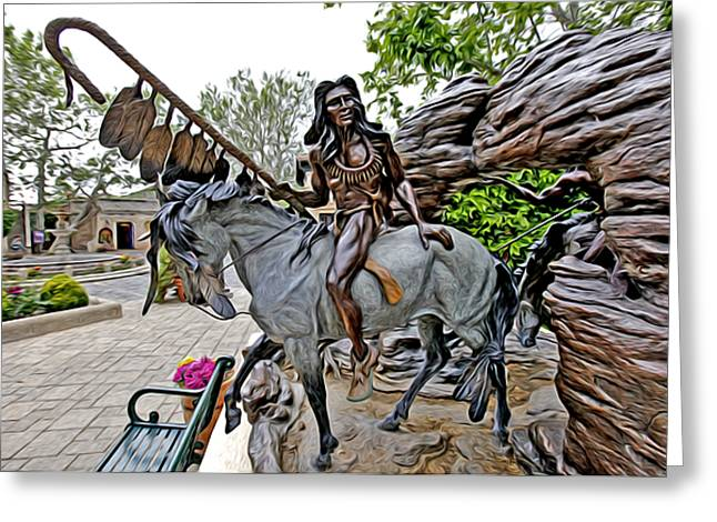 Sculpture Indians Greeting Cards - The Proud Indian  Warrior Greeting Card by James Steele