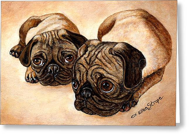 Pug Posters Greeting Cards - The Pugs Greeting Card by Ellen Strope