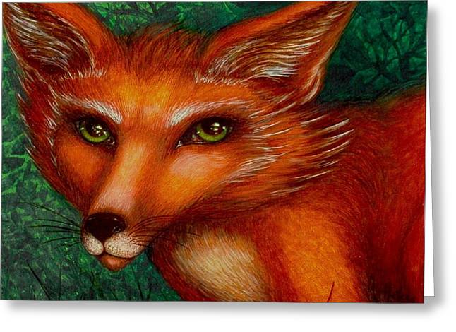 Fox Kit Paintings Greeting Cards - The Stranger Greeting Card by Helena Rose