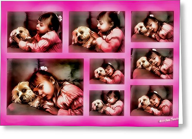 Puppies Mixed Media Greeting Cards - They Call It Puppy Love Greeting Card by Kathy Tarochione