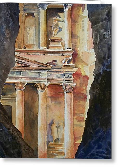 Petra - Jordan Paintings Greeting Cards - Through the Siq Greeting Card by Celene Terry