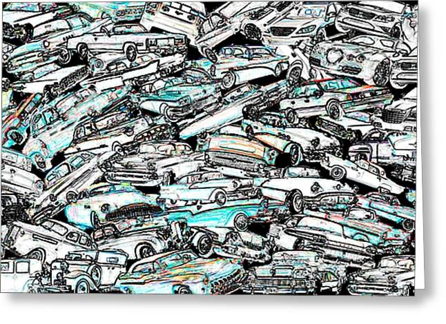 Textures Greeting Cards - Time through cars Digital Art Greeting Card by Mario  Perez