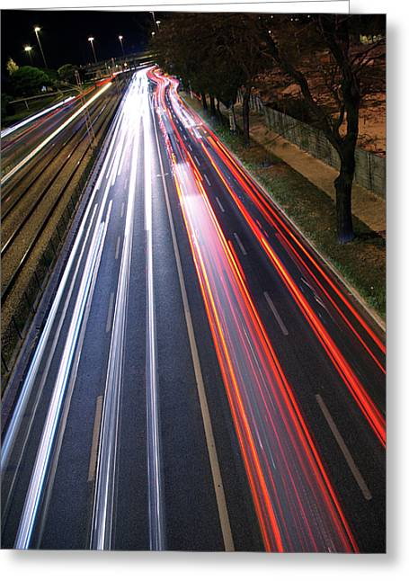 Asphalt Greeting Cards - Traffic Lights Greeting Card by Carlos Caetano
