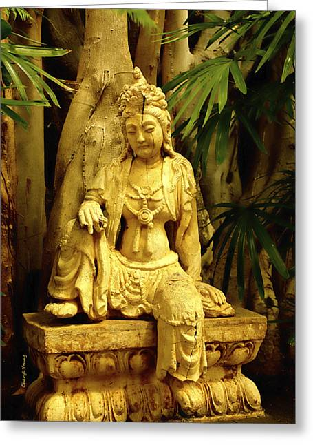 Hindu Goddess Photographs Greeting Cards - Tropical Buddha Greeting Card by Cheryl Young