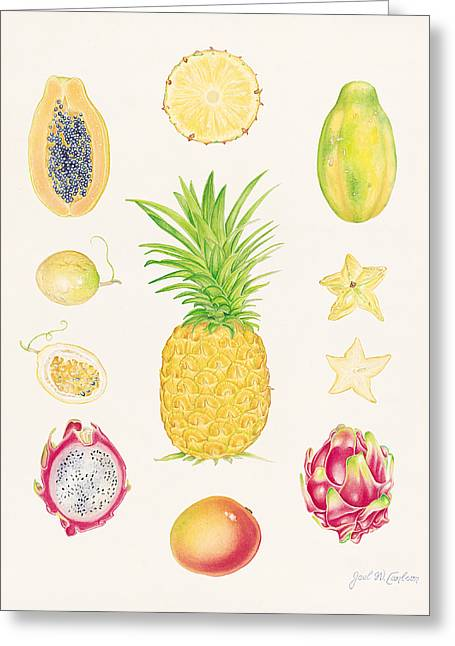 Passion Fruit Paintings Greeting Cards - Tropical Fruit 1 Greeting Card by Joel Carlson