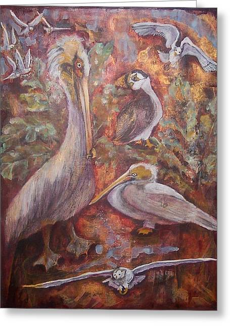 Seabirds Mixed Media Greeting Cards - Turf Greeting Card by Claire Sallenger Martin