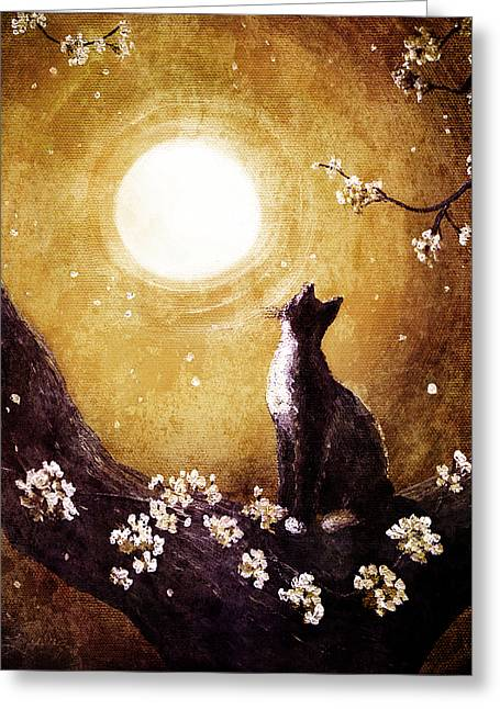 Cherry Blossoms Digital Art Greeting Cards - Tuxedo Cat in Golden Cherry Blossoms Greeting Card by Laura Iverson