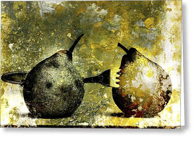 One Pear Greeting Cards - Two pears pierced by a fork. Greeting Card by Bernard Jaubert