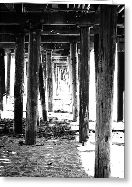 Plank Greeting Cards - Under The Pier Greeting Card by Linda Woods