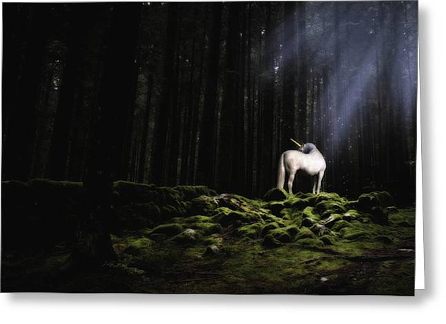Mystical Landscape Greeting Cards - Unicorn in a magic forest Greeting Card by Nicole Ciscato