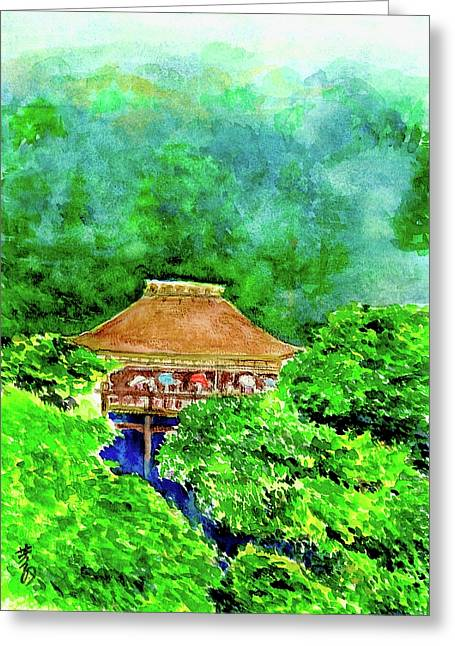 Wooden Building Drawings Greeting Cards - up high temple -Variation 2 Greeting Card by Yoshiko Mishina