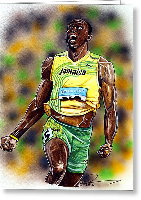 Nike Greeting Cards - Usain Bolt...The Worlds Fastest Man Greeting Card by Dave Olsen
