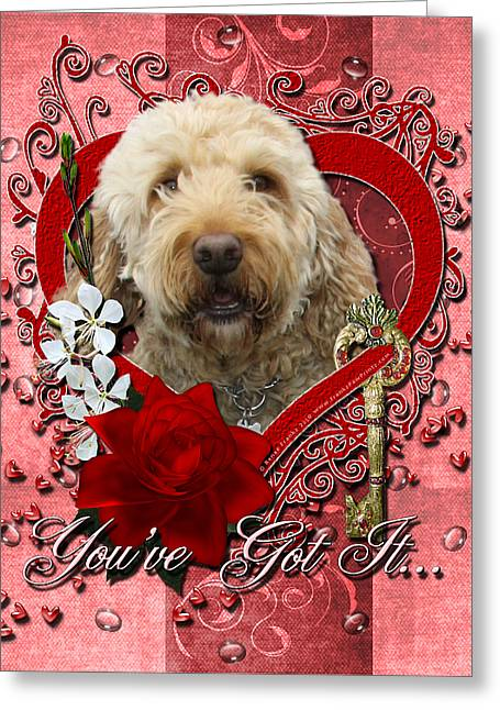 Poodle Greeting Cards - Valentines - Key to My Heart GoldenDoodle Greeting Card by Renae Laughner