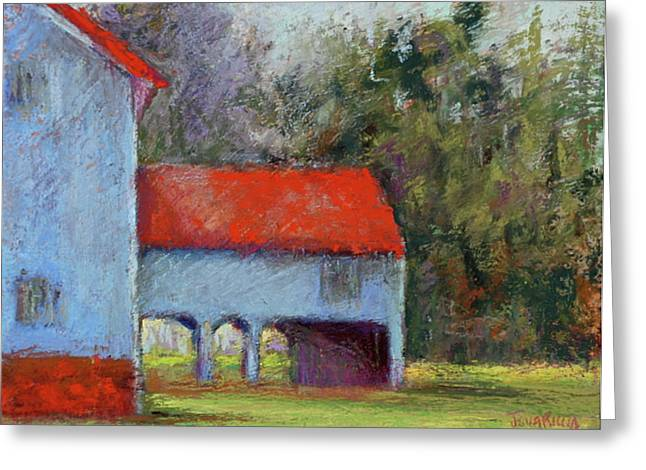 Red Roofed Barn Pastels Greeting Cards - Vanderbilt Park Greeting Card by Joyce A Guariglia