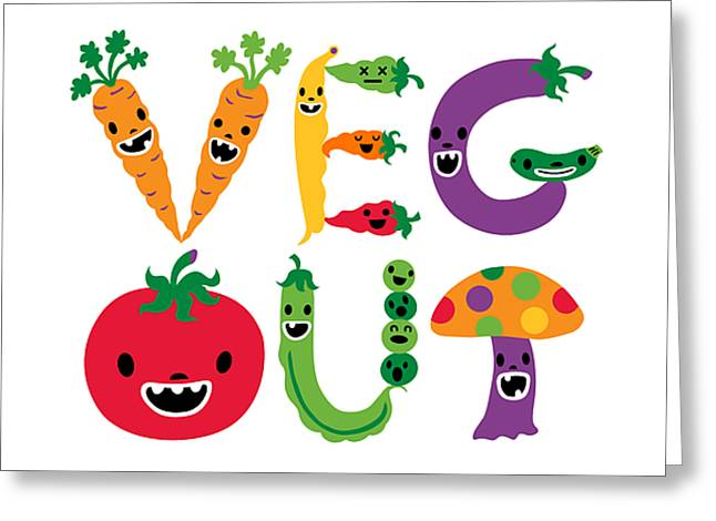 Andi Bird Greeting Cards - Veg Out - white Greeting Card by Andi Bird