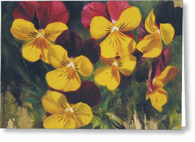 Pansies Greeting Cards - Velvet Clowns III Greeting Card by Anna Rose Bain
