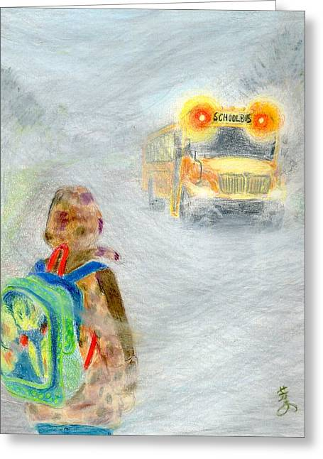 School Bus Print Greeting Cards - Very Very Very Foggy Day Greeting Card by Yoshiko Mishina
