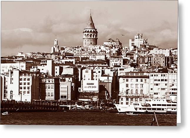 Sultanhmet Greeting Cards - Vintage Galata Tower Greeting Card by John Rizzuto