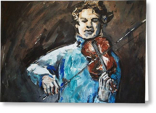 Brahms Greeting Cards - Violinist1 Greeting Card by Denise Justice