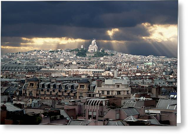 Elevated Greeting Cards - Vue de la Butte Montmartre.Roofs of Paris Greeting Card by Bernard Jaubert