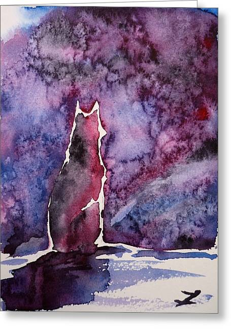 Huskies Greeting Cards - Waiting Greeting Card by Zaira Dzhaubaeva